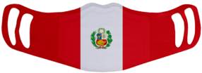 A washable and reusable polyester Peruvian Flag printed cloth face mask with two ear holes by each side